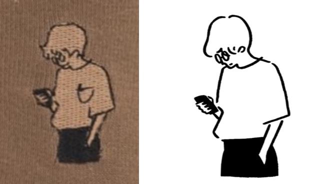 長場雄さんのイラストとチュチュアンナ刺繍比較画像